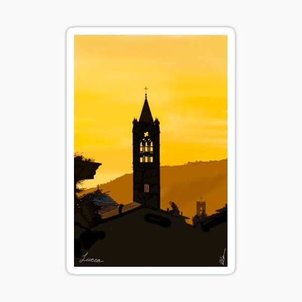 Lucca Italy in the Evening Sticker
