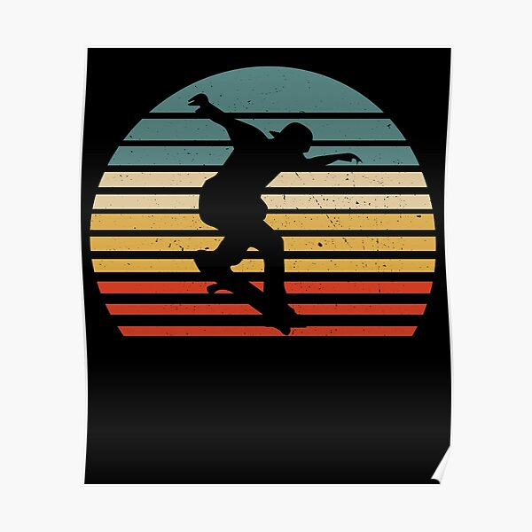 Skate Shirt Vintage Skateboarding Retro Style Gift Poster