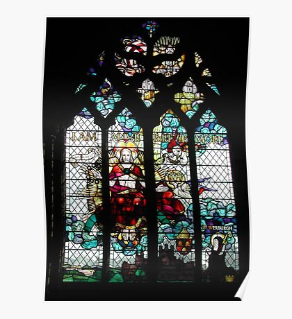 Stained Glass Window in Chester Cathedral Poster