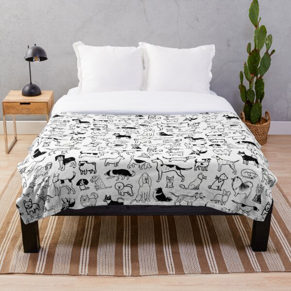 Black and White Dogs Pattern Throw Blanket