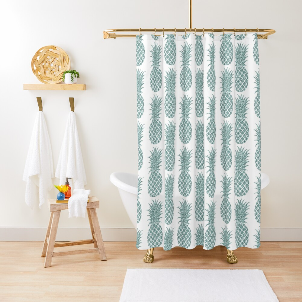 Mint Glitzy Glitter Tropical Pineapple Shower Curtain