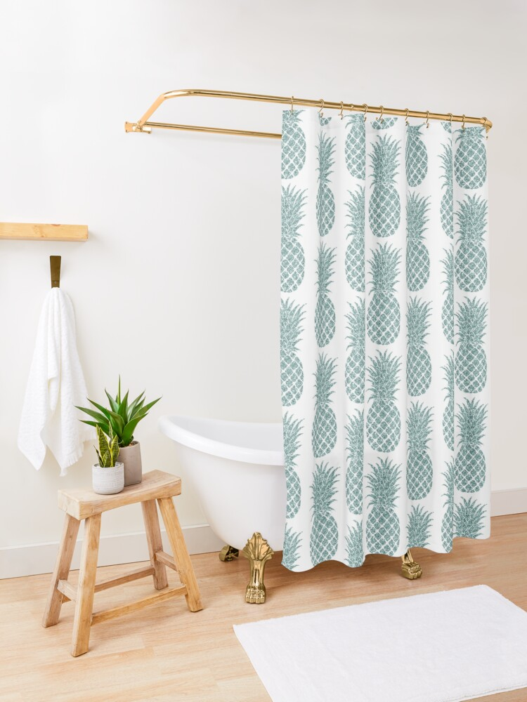 Alternate view of Mint Glitzy Glitter Tropical Pineapple Shower Curtain