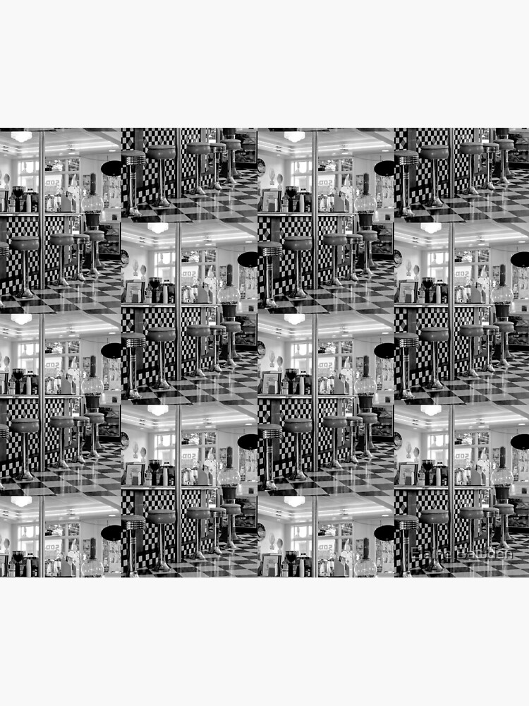 THE 50'S DINER IN BLACK AND WHITE by elainebawden