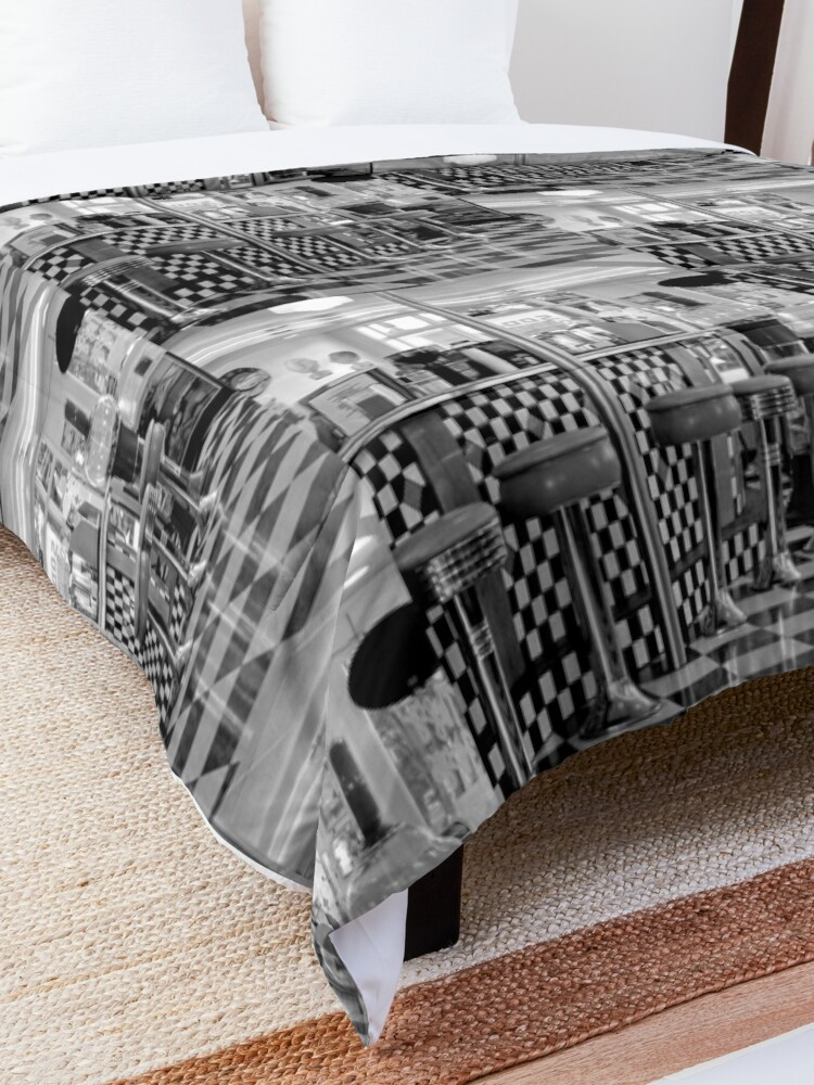 Alternate view of THE 50'S DINER IN BLACK AND WHITE Comforter