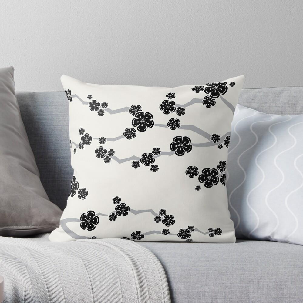 Black Oriental Cherry Blossoms | Zen Japanese Sakura Flowers Throw Pillow