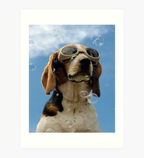 Hound amongst the bubbles Art Print