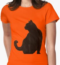 Halloween Black Cat Silhouette Womens Fitted T-Shirt