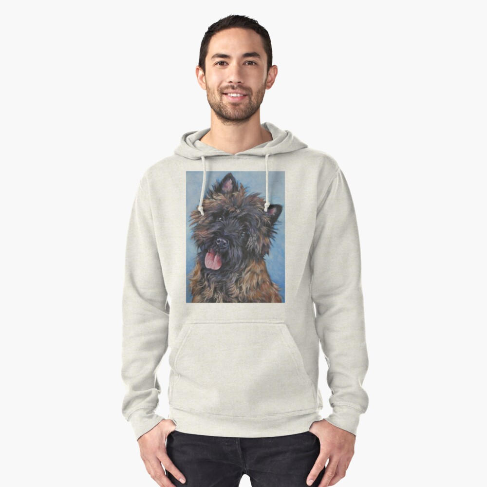 Cairn Terrier Fine Art Painting Pullover Hoodie Front