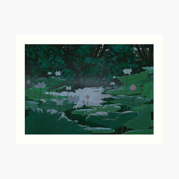 of ponds and rainy days Art Print