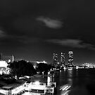 Southside of Town, Monochrome Panorama - Night In Bangkok by vanyahaheights