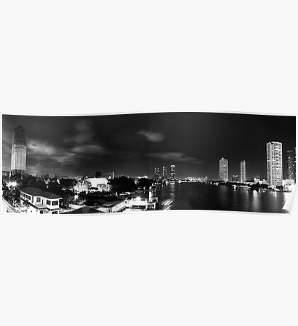 Southside of Town, Monochrome Panorama - Night In Bangkok Poster
