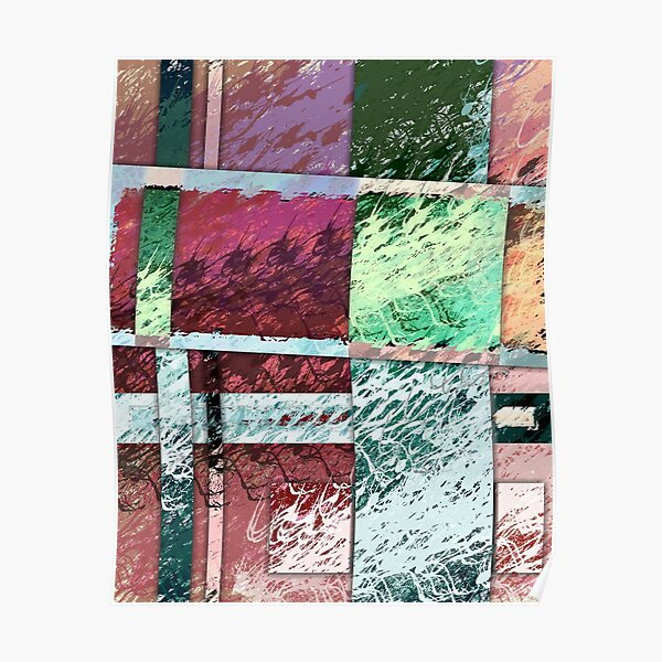 Waves - Abstract Digital Painting Wall Art Colorful Geometric Art Poster