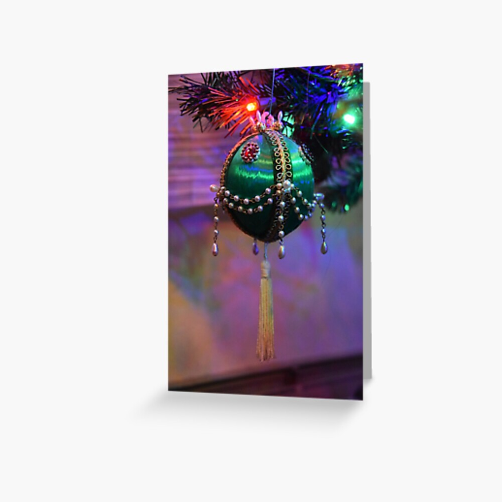 Dad's Green Bead Ornament Greeting Card