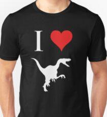 I Love Dinosaurs - Velociraptor (white design) Unisex T-Shirt