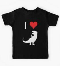 Ich liebe Dinosaurier - T-Rex (weißes Design) Kinder T-Shirt