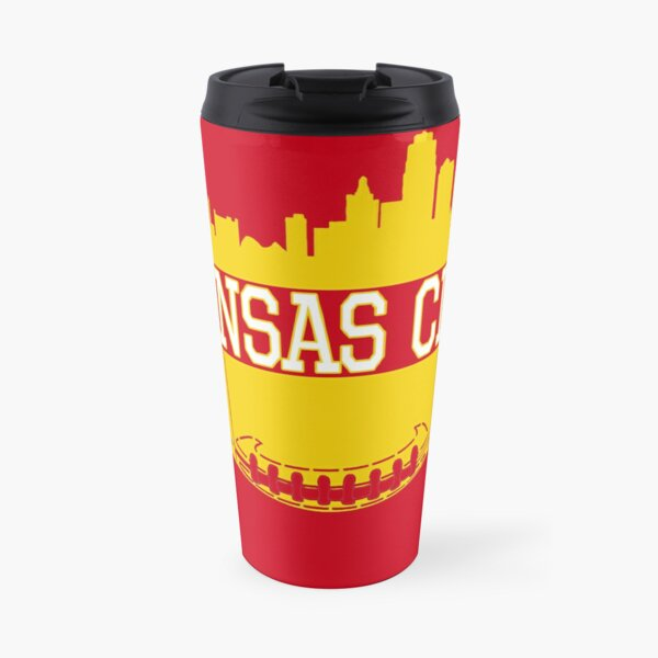 Kansas City Football Skyline KC Fan Red & Yellow Kc Football Travel Mug