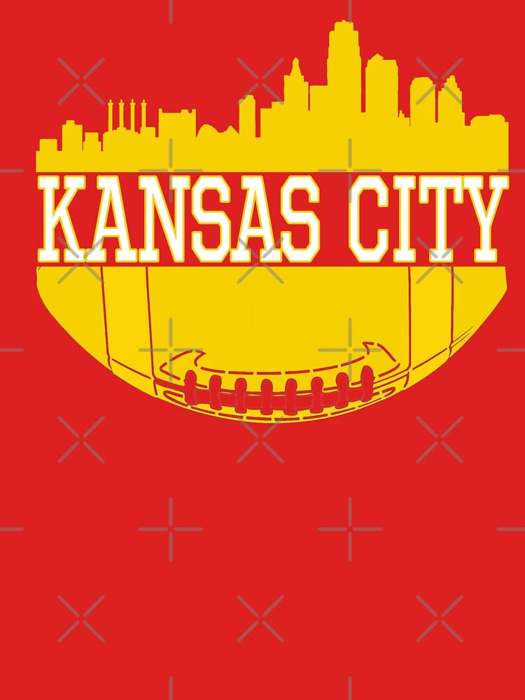 Kansas City Football Skyline KC Fan Red & Yellow Kc Football by Bullish-Bear