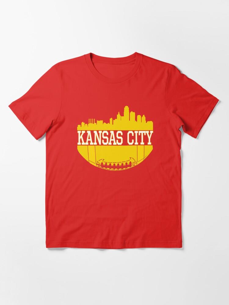 Alternate view of Kansas City Football Skyline KC Fan Red & Yellow Kc Football Essential T-Shirt