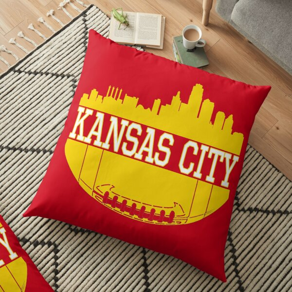 Kansas City Football Skyline KC Fan Red & Yellow Kc Football Floor Pillow