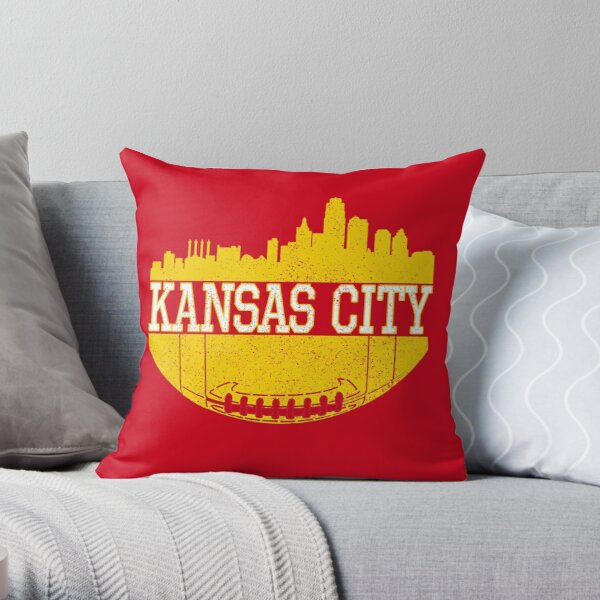 Vintage Classic Kansas City Football Skyline KC Fan Red & Yellow Kc Football Throw Pillow