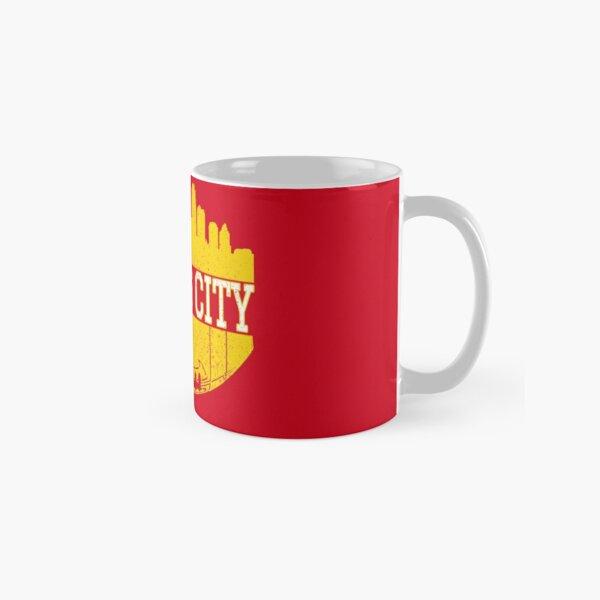 Vintage Classic Kansas City Football Skyline KC Fan Red & Yellow Kc Football Classic Mug