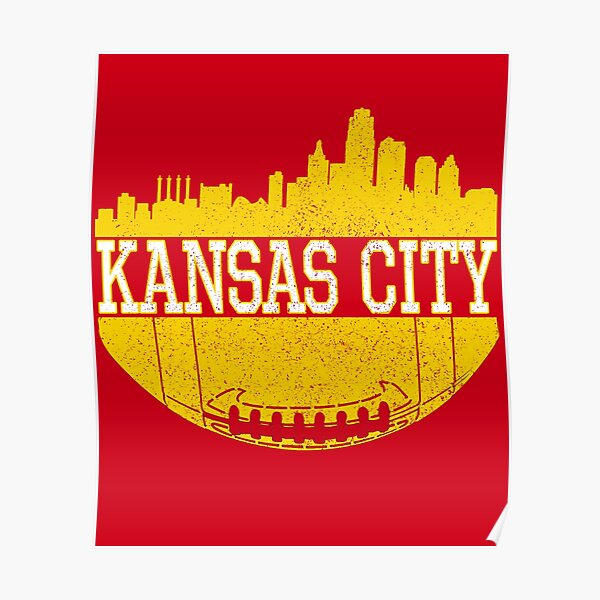Vintage Classic Kansas City Football Skyline KC Fan Red & Yellow Kc Football Poster
