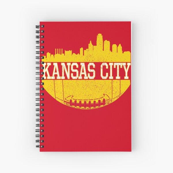 Vintage Classic Kansas City Football Skyline KC Fan Red & Yellow Kc Football Spiral Notebook