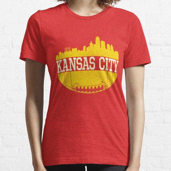 Vintage Classic Kansas City Football Skyline KC Fan Red & Yellow Kc Football Essential T-Shirt