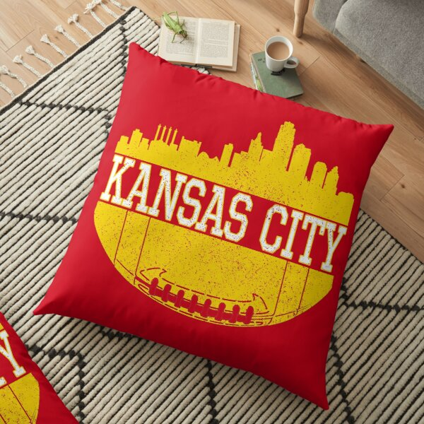 Vintage Classic Kansas City Football Skyline KC Fan Red & Yellow Kc Football Floor Pillow