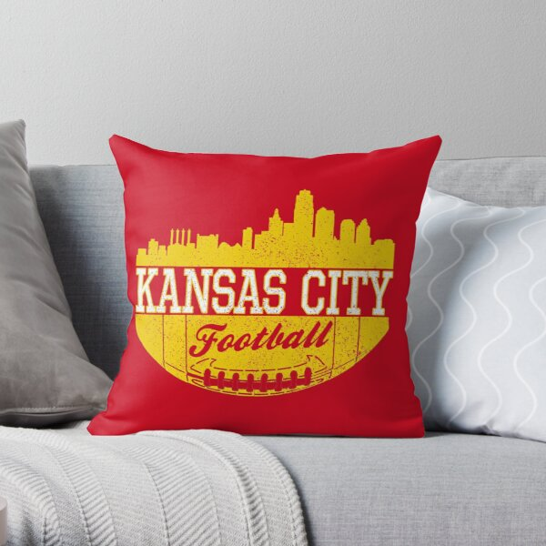 Classic Vintage Kansas City Football KC Fan Red & Yellow Kc Football Throw Pillow