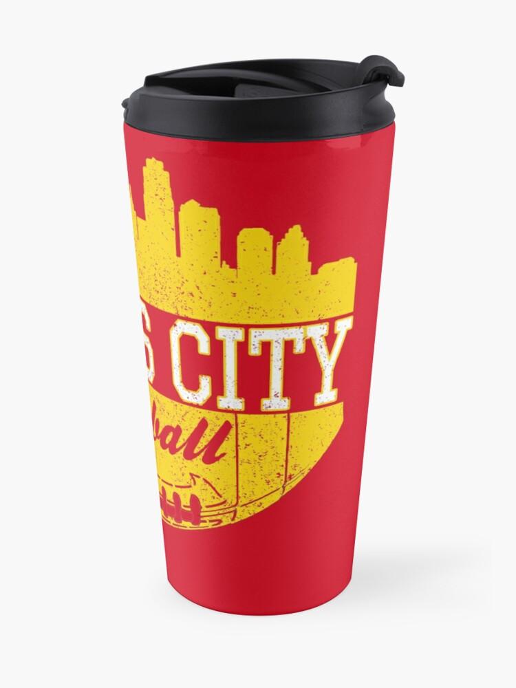 Alternate view of Classic Vintage Kansas City Football KC Fan Red & Yellow Kc Football Travel Mug