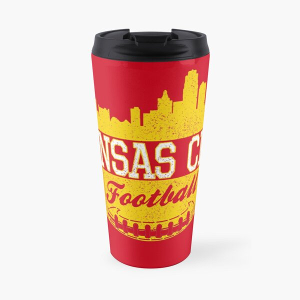 Classic Vintage Kansas City Football KC Fan Red & Yellow Kc Football Travel Mug