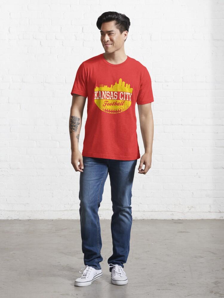 Alternate view of Classic Vintage Kansas City Football KC Fan Red & Yellow Kc Football Essential T-Shirt