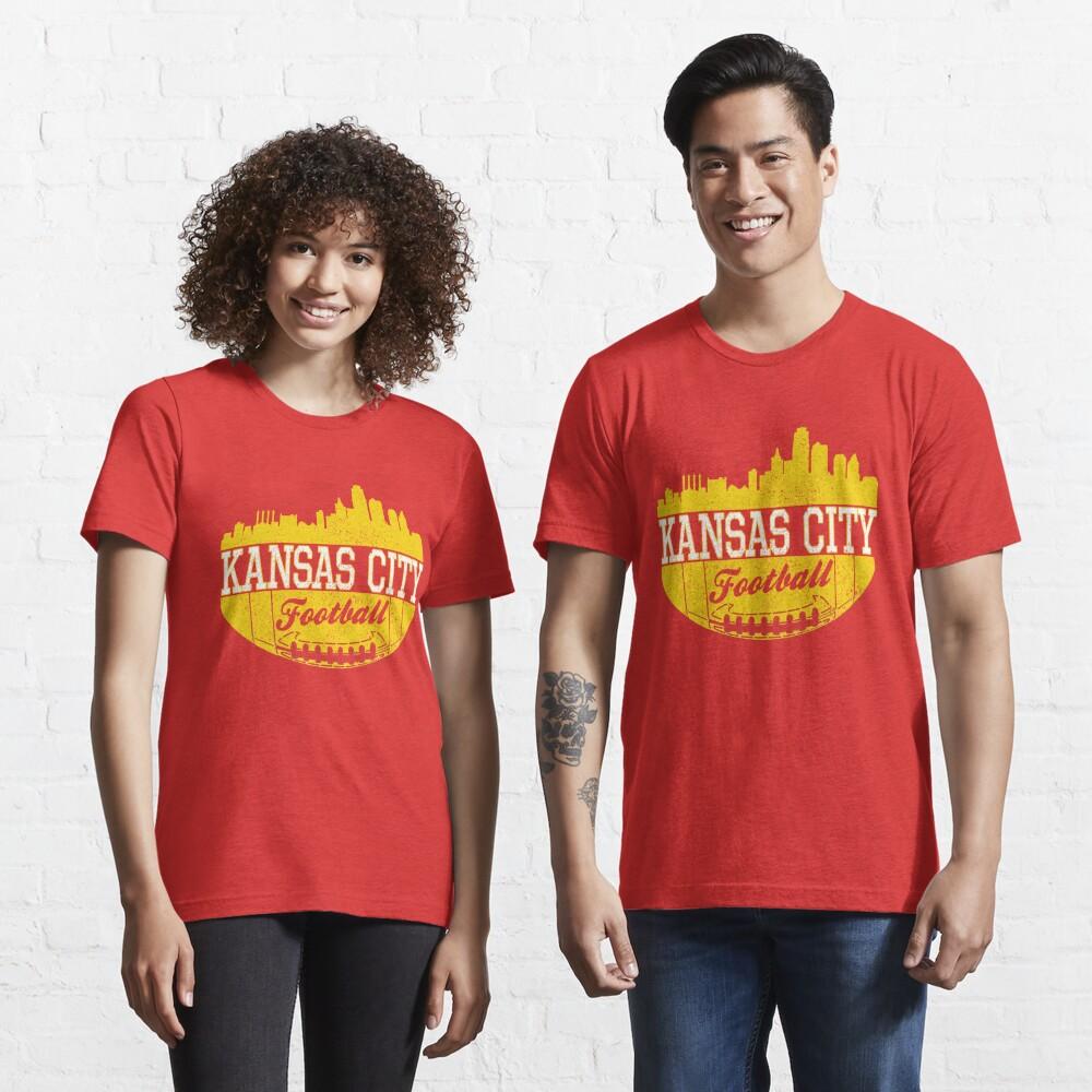 Classic Vintage Kansas City Football KC Fan Red & Yellow Kc Football Essential T-Shirt