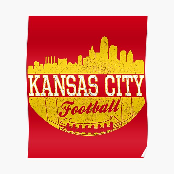 Classic Vintage Kansas City Football KC Fan Red & Yellow Kc Football Poster