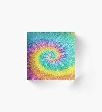 Rainbow Tie Dye 3 Acrylic Block