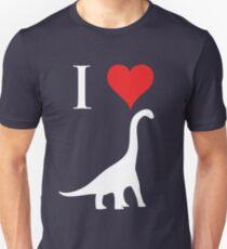 I Love Dinosaurs - Brachiosaurus (white design) Unisex T-Shirt