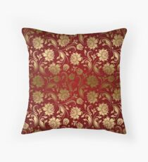 Burgundy And Gold Floral Damasks Throw Pillow