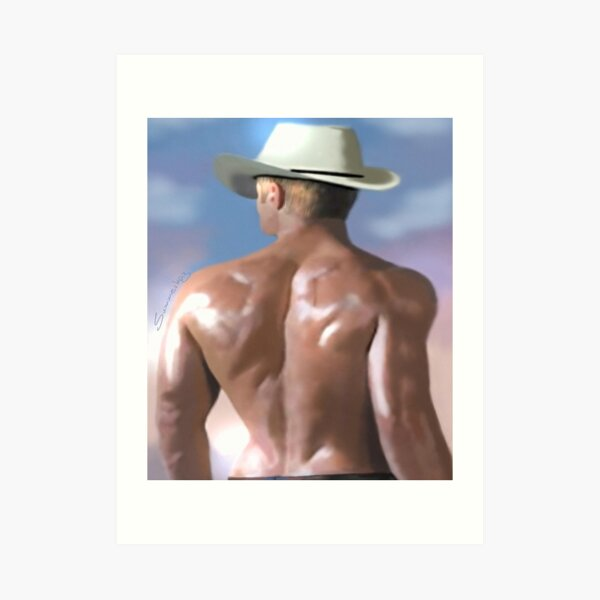 Handsome guy on beach Art Print