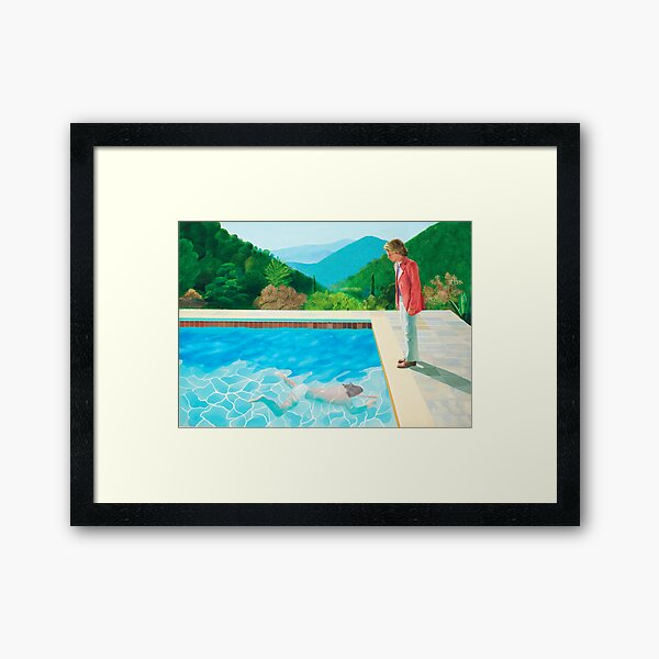 pool with two figures Framed Art Print