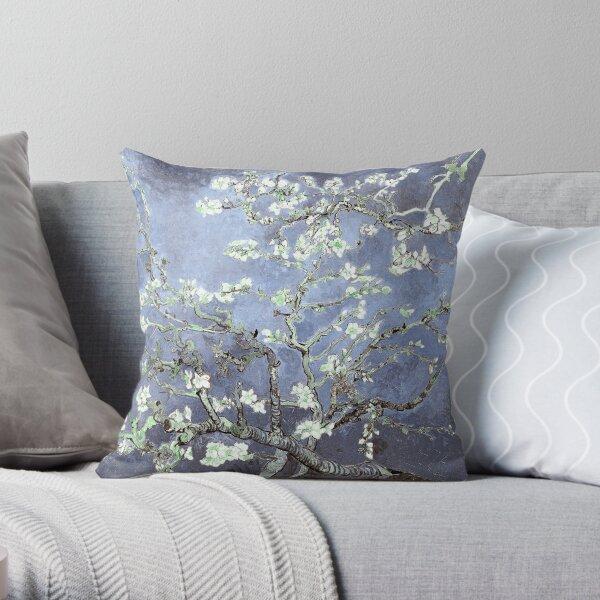 Vincent Van Gogh Almond Blossoms Steel Blue Elegance Throw Pillow