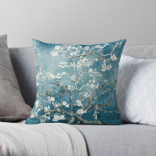 Vincent Van Gogh Almond Blossoms Teal Elegance Throw Pillow