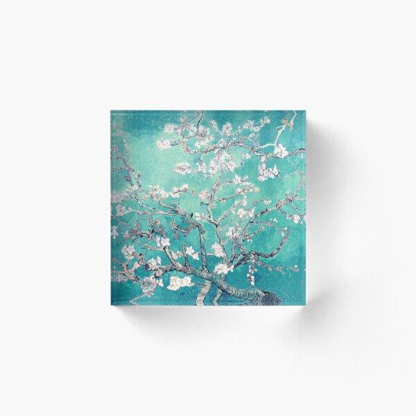 Vincent Van Gogh Almond Blossoms Turquoise Elegance Acrylic Block