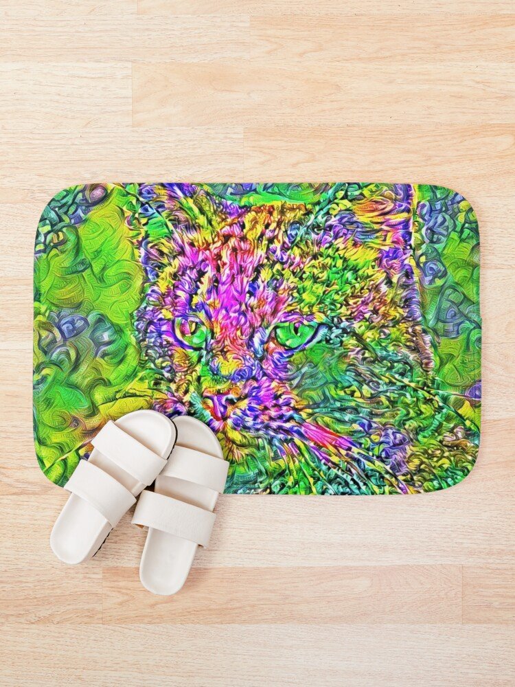 Alternate view of Artificial neural style Flower cat Bath Mat