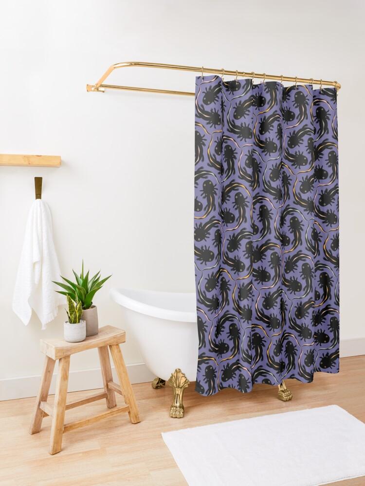 Alternate view of WE LOVE M.C. ESCHER style - Axolotl symmetrical pattern Shower Curtain