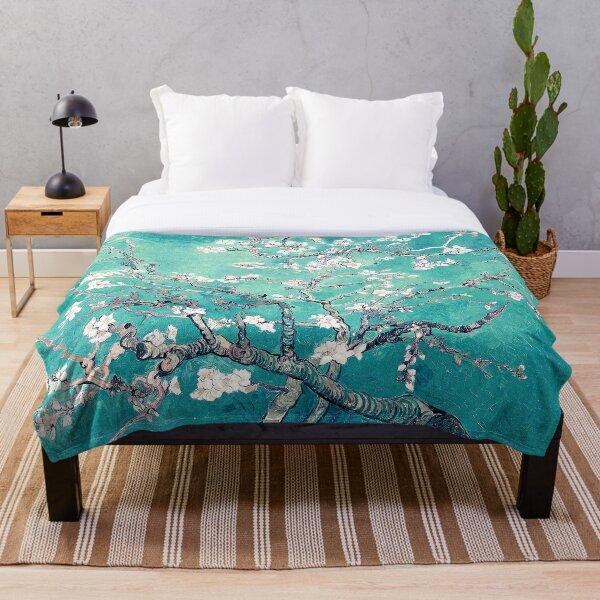 Vincent Van Gogh Almond Blossoms Turquoise Elegance Throw Blanket