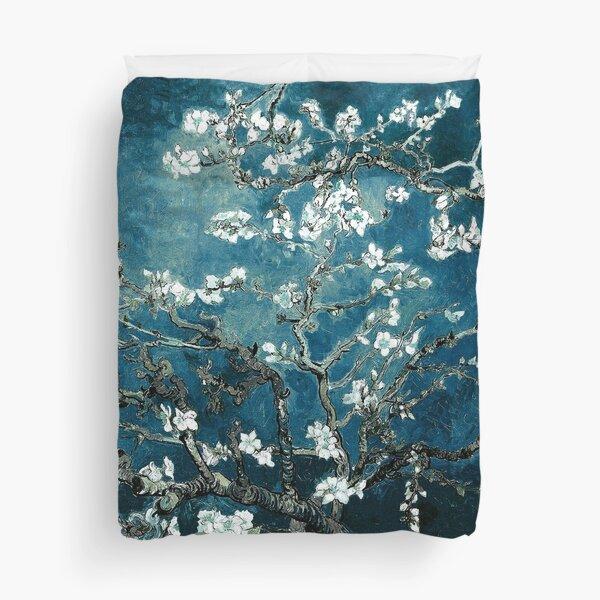 Van Gogh Almond Blossoms Dark Teal Duvet Cover
