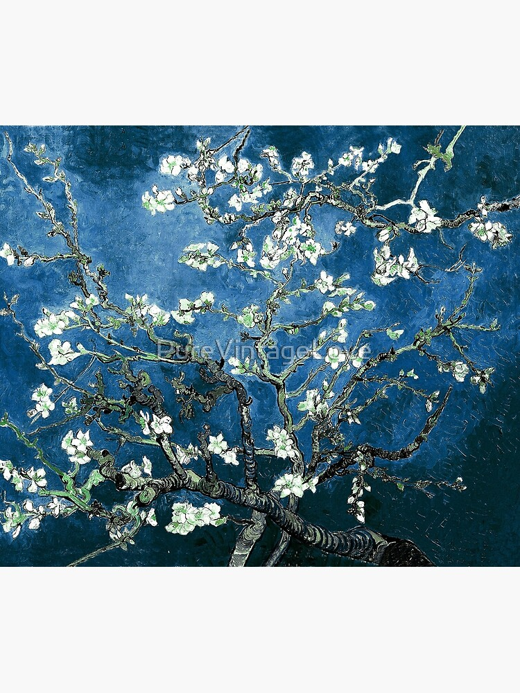 Van Gogh Almond Blossoms Deep Ocean Blue by PureVintageLove