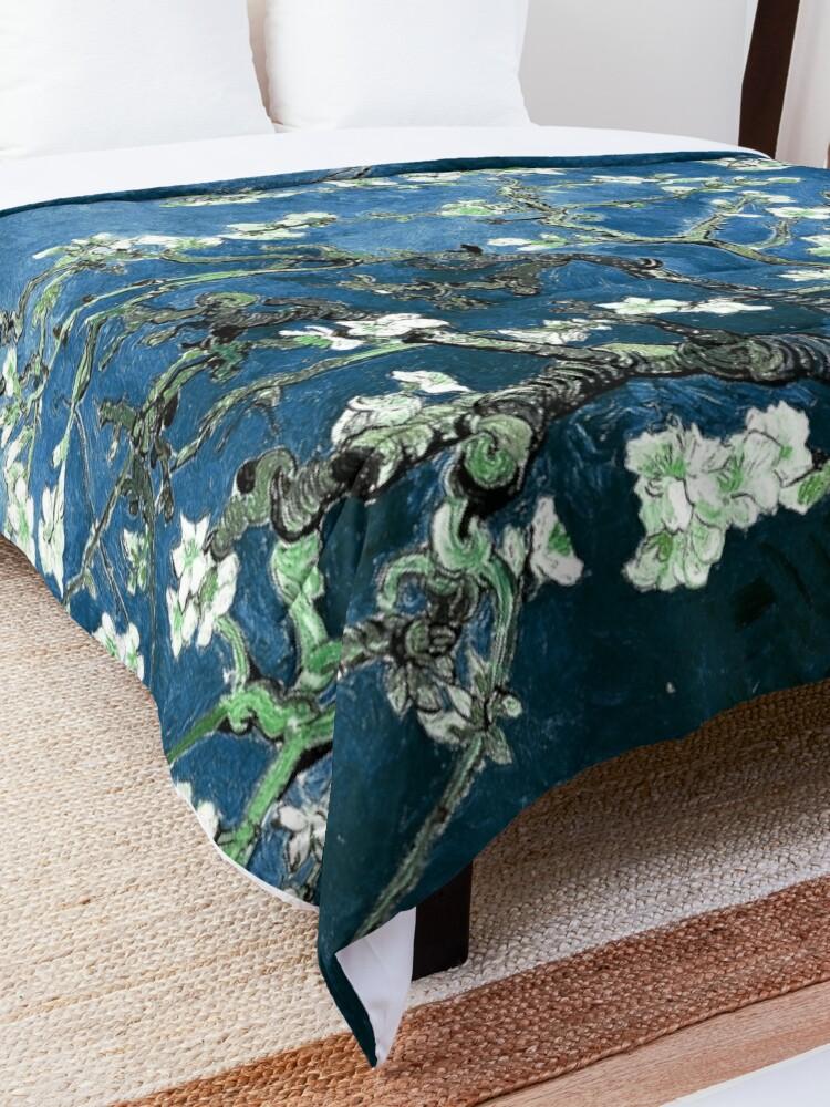 Alternate view of Van Gogh Almond Blossoms Deep Ocean Blue Comforter