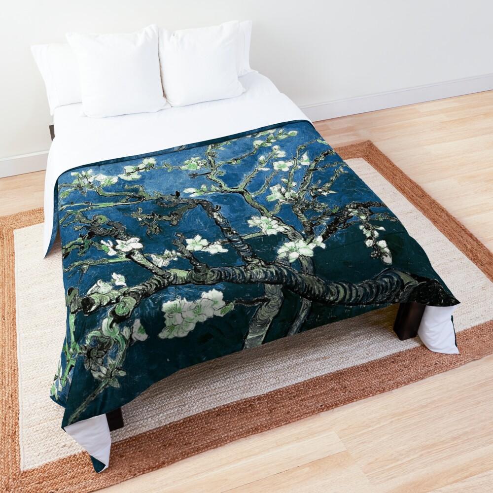 Van Gogh Almond Blossoms Deep Ocean Blue Comforter